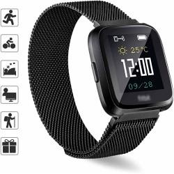 Fitbit Versa 1 / 2 armband milanesisk loop Svart Svart