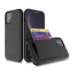 iPhone 12 Pro Max Stötdämpande korthållare skal fodral mobilskal Svart