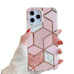 Marmor skal för iPhone 12 / 12 Pro - Lyx Glitter / Rosa C4U® - S Rosa