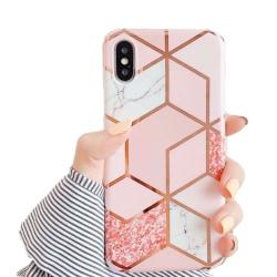 Marmor skal för iPhone XR - Lyx Glitter / Rosa C4U® Rosa