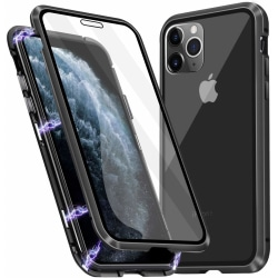 Premium iPhone 11 Pro Max Stötdämpande magnet Skal med glas C4U® Svart