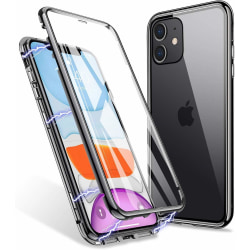 Premium iPhone 11 Stötdämpande magnet Skal med glas C4U® Svart