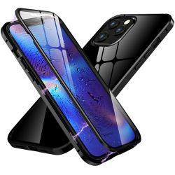 Premium iPhone 12 Pro Max Stötdämpande magnet Skal med glas C4U® Svart