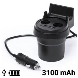 Bil USB-laddare med mobilhållare 3100 mAh 145534 Svart