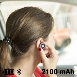 USB-laddare för bil med trådlösa hörlurar 2100 mAh Bluetooth Silverfärgad/svart