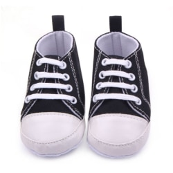0-12M Newborn Toddler Canvas Sneakers Soft Shoes First Walkers Black 12CM