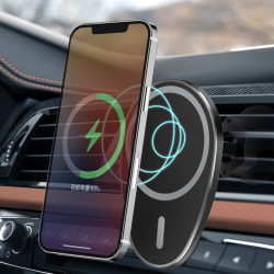 15W Magnetic Wireless Charger Car Mount for iPhone 12 Pro Max Black