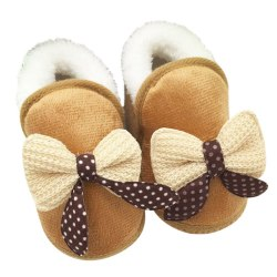 Baby Boys Girls Warm Plush Boot Infant Soft Bootie Crib Shoes Khaki 3