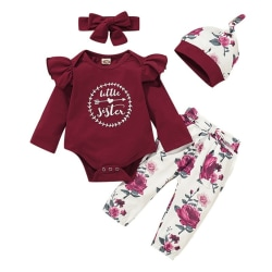 Baby Girl Clothes Newborn Kids Girls Outfits Clothes Bodysuit Red One Size