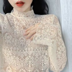 Blouses Women Embroidered Long Sleeve Lace Shirt Mesh Tops A