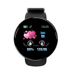 Bluetooth Smart Watch Blood Pressure Round Smartwatch Black