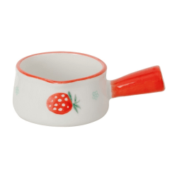 Ceramic Mini Saucepan Milk Cup With Handle Coffee Sugar Bowls Red