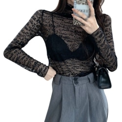 Embroider Hollow-Out See-Through Sexy Inner Lace Bottom Black