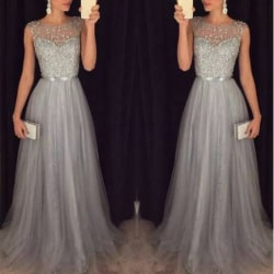 Evening Party Hollow Out Beach Dress Sleeveless Party dresses Gray L