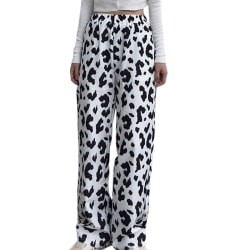 Female Cow Pattern Pants Wide-leg Pants Loose Casual Trouser Black M