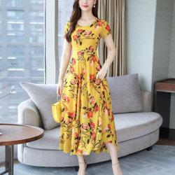 Blommigtryckta sommarklänning Kvinnor kortärmade klänningar