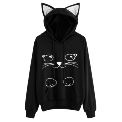 Hoodies Sweatshirt Womens Fashion Lovely Cat Printed Long Sleeve Black L