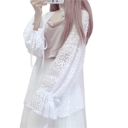 Ladies Women Blouse Flare Sleeve Cover Ups Blouse Lace Shawl White One Size