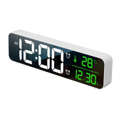 LED Digital Alarm Clocks For Bedrooms USB Charger Digit Display White