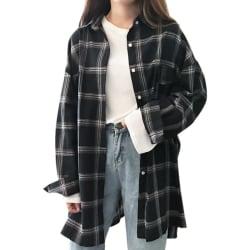 Long Loose Falling Shoulder Long Sleeve Lapel Pocket Shirt Women Black L