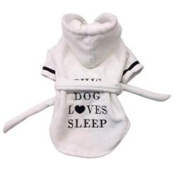Pet Dog Bathrobe Dog Pajamas Sleeping Clothes for Dog Cats White XXL