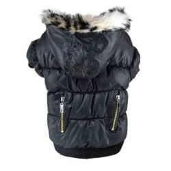 Pets Doggy Puppy Warm Winter Coat Zipper Fold Hoodies Jackets Black XS