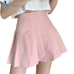 Pleated Skirt with Underpants Solid Color College Style Skirts 4 XL