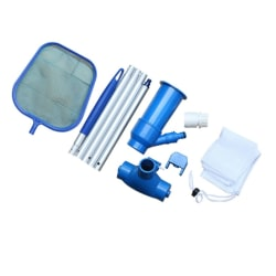 Swimming Pool Cleaning Tool Set Skimmer Net with Brush Dispenser A