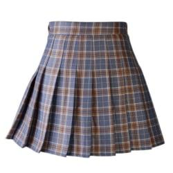 Women Casual Plaid Skirt Girls High Waist Pleated Skirt A-line Brown XXXL