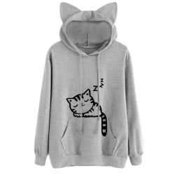 Women Cat Ear Hooded Printed Long Sleeve Fashion Sweatershirt Gray XXL