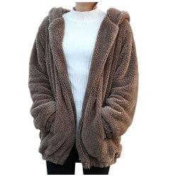 Women Girls Winter Loose Bear Ear Hoodie Hooded Jacket Warm Coat Khaki One Size