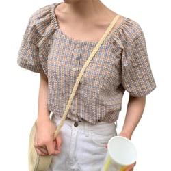 Kvinnor Plaid Print Square krage skjorta koreansk stil Casual