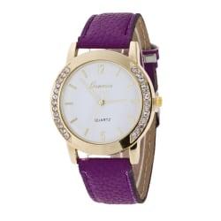 Women Simple Stainless Watch Steel Dial Leather Bracelet Watch 3