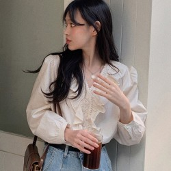 V-ringad spetsskjorta för kvinnor ihålig långärmad blus