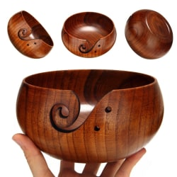 Wooden Yarn Storage Bowl Knitting Crocheting Wool Storage Bowl 18 cm