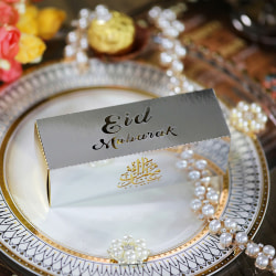 10PCs Eid Mubarak Candy Box DIY Gift Box Ramadan Decor Happy Ram Silver
