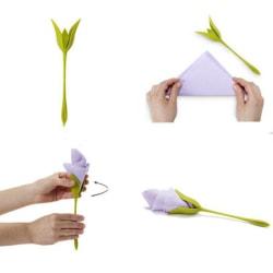 10Pcs Napkin Holders DIY Paper Rose Flower Branch Serviette Hol