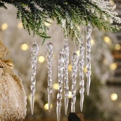 12PCS Christmas Decoration Simulation Ice Xmas Tree Ornament Fak onesize