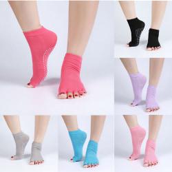 1Pair Half Anti-Slip Pilates Ankle Grip Durable Five Fingers Cot 灰色