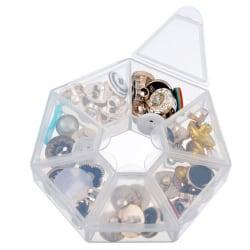 1pc/2pcs Plastic 7 Slot Adjustable Jewelry Tool Box Case Organiz Clear 83*83*17mm