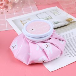 1pc Cartoon Cold Hot Water Bag Reusable Ice Bag Cup Cold  Pain  Pink
