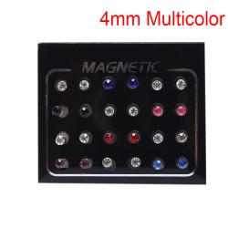 24Pcs/Set Magnetic Non-Piercing Clip Round Rhinestone Stud Earri Multicolor 4mm