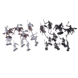 28pcs/set Knights Warrior Horses Medieval Soldiers Figures Mini