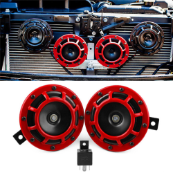 2pc Compact Electric Loud Blast 12V Grille Mount For Super Tone  Red