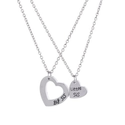 "2pcs Sister Necklace Matching ""Little Sister Big Sister"" Pendant Silver One Size"