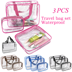 3 PCS Clear PVC Travel Wash Bag Cosmetic Makeup Toiletry Holder Black