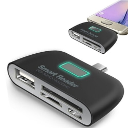 4 in 1 OTG/TF/SD Smart Type-C Card Reader Adapter Micro USB Char
