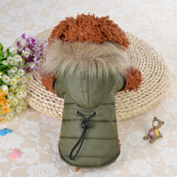 5 size pet dog coat winter warm small dog clothes soft fur hood Army Green XS