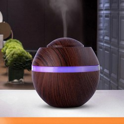 500Ml Electric Oil Essential Burner Aroma Diffuser Humidifier A dark wood color