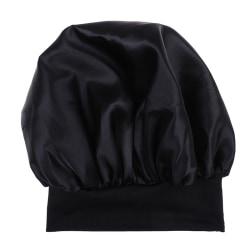 58cm Solid Color Women Satin Bonnet Cap Night Sleep Hat Adjust  Black